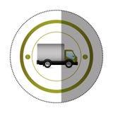 Autoadesivo con forma circolare con il camion ed il vagone Immagini Stock Libere da Diritti