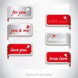 Autoadesivo dei biglietti di S. Valentino del cuore per la pagina (di Web) Fotografia Stock