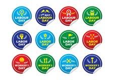 Autoadesivo del distintivo dell'etichetta del giorno del lavoratore labour/Labor/ ENV 10 Fotografie Stock