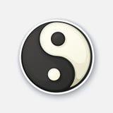 Autoadesivo del fumetto con il simbolo di Yang e di Yin nello stile comico Immagine Stock