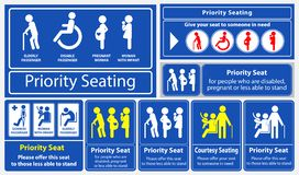 Autoadesivo del sedile di priorità utilizzando nel trasporto pubblico, come il bus, il treno, il transito rapido di massa ed altr royalty illustrazione gratis