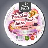 Autoadesivo dell'etichetta del succo del frutto della passione illustrazione vettoriale