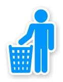 Autoadesivo dell'uomo con un simbolo dei rifiuti Fotografie Stock