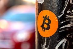 Autoadesivo di Bitcoin Fotografia Stock