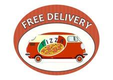 Autoadesivo di consegna della pizza Immagini Stock Libere da Diritti