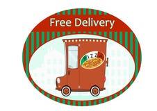 Autoadesivo di consegna della pizza Immagine Stock Libera da Diritti