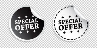 Autoadesivo di offerta speciale Illustrazione in bianco e nero di vettore royalty illustrazione gratis