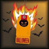 Autoadesivo di prezzi di Halloween con i pipistrelli Fotografia Stock