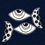 Autoadesivo di scarabocchio dei pesci L'oroscopo canta di zodiaco Immagine Stock