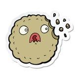 autoadesivo di un fumetto spaventato del biscotto illustrazione di stock