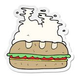 autoadesivo di un panino enorme del fumetto illustrazione vettoriale