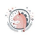 Autoadesivo di Unicorn Fairy Tale Character Girly nel telaio rotondo Fotografie Stock Libere da Diritti