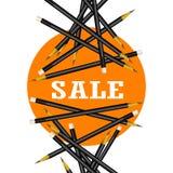 Autoadesivo di vendita Fondo arancio Illustrazione di vettore delle matite Fotografie Stock Libere da Diritti