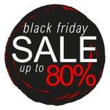 Autoadesivo, distintivo, segno, bollo, logo, insegna, icona o etichetta di vendita di Black Friday Immagini Stock Libere da Diritti