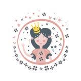 Autoadesivo Girly di principessa Fairy Tale Character nel telaio rotondo Immagine Stock