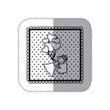 autoadesivo monocromatico nel telaio quadrato e punteggiato con la sposa ed i palloni disegnati a mano dei cuori Fotografie Stock