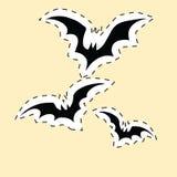 Autoadesivo nero dell'etichetta dei pipistrelli Immagine Stock Libera da Diritti