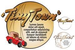 Autoadesivo per il vostro messaggio Giocattoli in città minuscola Automobile Fotografia Stock