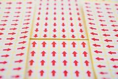 Autoadesivo rosso della freccia Fotografia Stock