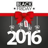 Autoadesivo rosso 2016 di prezzi di Black Friday del nastro Fotografie Stock