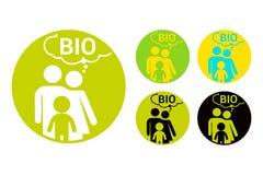 Autoadesivo rotondo variopinto della bio- famiglia Insieme di etichetta organico illustrazione vettoriale