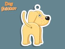 Autoadesivo sveglio di Labrador del cucciolo del cane del fumetto Illustrazione di vettore Wi Fotografia Stock Libera da Diritti