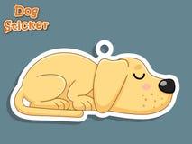 Autoadesivo sveglio di Labrador del cucciolo del cane del fumetto Illustrazione di vettore Wi Fotografia Stock