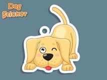 Autoadesivo sveglio di Labrador del cucciolo del cane del fumetto Illustrazione di vettore Wi Fotografie Stock