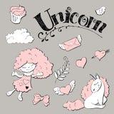 Autoadesivo sveglio di principessa messo con l'unicorno Fotografia Stock
