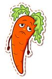 Autoadesivo triste della carota del fumetto Fotografia Stock Libera da Diritti