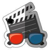 autoadesivo variopinto con il cinema di ciac ed i vetri del cinema 3D Fotografie Stock Libere da Diritti