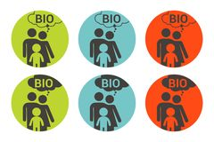 Autoadesivo variopinto di vettore della bio- famiglia Insieme di etichetta organico illustrazione vettoriale