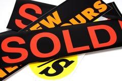Autoadesivo venduto Fotografie Stock Libere da Diritti