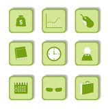 Autoadesivo verde con l'icona 9 Immagine Stock Libera da Diritti