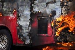 Autobús ardiente Fotografía de archivo libre de regalías