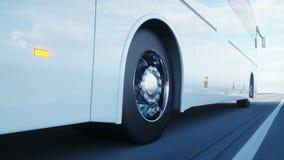 Autobús blanco turístico en el camino, carretera Conducción muy rápida Concepto turístico y del viaje Animación realista 4K stock de ilustración