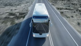 Autobús blanco turístico en el camino, carretera Conducción muy rápida Concepto turístico y del viaje Animación realista 4K almacen de metraje de vídeo