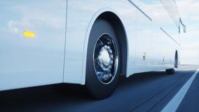 Autobús blanco turístico en el camino, carretera Conducción muy rápida Concepto turístico y del viaje representación 3d foto de archivo libre de regalías
