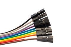 Autobús de cable del color en blanco imagenes de archivo