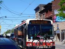 Autobús de la calle de la reina del ` s de Toronto en tráfico de ciudad foto de archivo libre de regalías