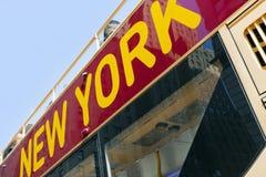 Autobús de la carta del viaje de New York City Imagen de archivo libre de regalías