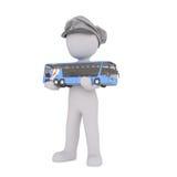 Autobús de la escala de Cap Holding Small del conductor del autobús de la historieta Foto de archivo libre de regalías
