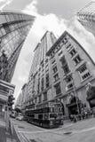 Autobús del autobús de dos pisos en la calle en Hong Kong Foto de archivo libre de regalías