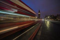 Autobús del rojo de Big Ben Foto de archivo