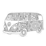Autobús del vintage del hippie para el adulto o el libro de colorear de los niños stock de ilustración