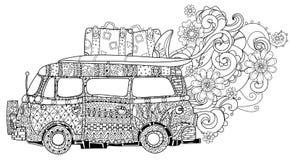 Autobús dibujado mano volkswagen de la resaca del esquema del garabato stock de ilustración