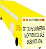 Autobús escolar con la muestra de la venta Imagen de archivo libre de regalías