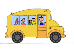 Autobús escolar con los niños Fotografía de archivo