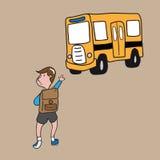 Autobús escolar del muchacho Imagenes de archivo