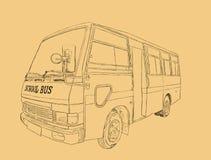 Autobús escolar en ciudad urbana Fotos de archivo